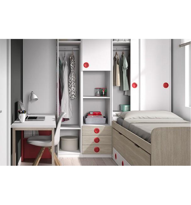 Dormitorio juvenil compacto botones